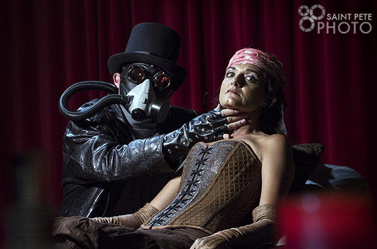 Costume designer, Bridget Desjarlais, as a beautiful woman being dissected by the evil Gustav.