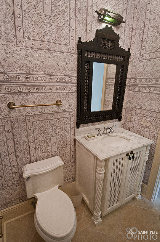 This is the small powder room for this lovely South Tampa home.